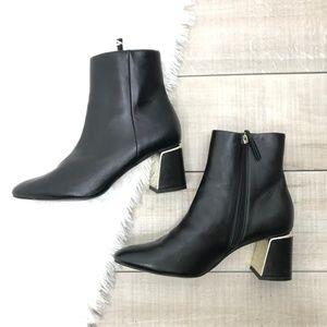 ZARA Black Chunky Silver Heel Ankle Booties